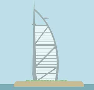 Sailboat shaped building.