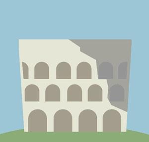 Collisseum in Rome with windows.