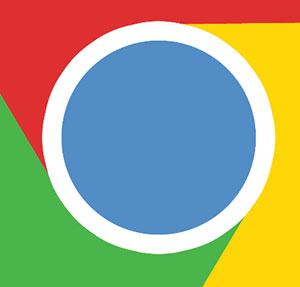 Blue circle in yellow, green and red box.