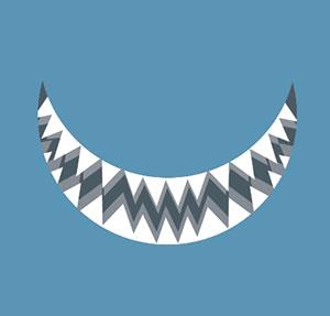 Shark teeth smile.