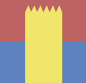 Tall yellow heard with triangles on top, red and blue background.