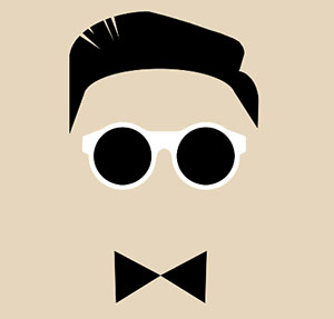 Man with white sunglasses and bow tie.