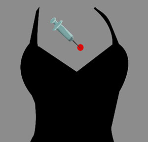 Black dress with needle.