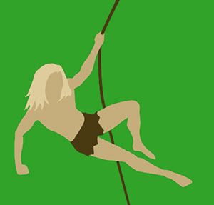 Man with blonde hair swinging from a rope.