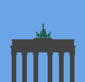 Building with six columns and statues on top.