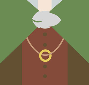 Ring, or gold circle on a necklace.