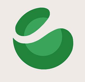 brand with green circle logo