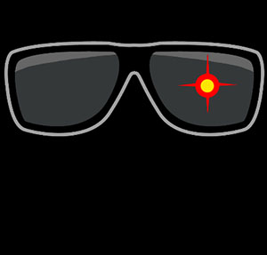 Sunglasses with red target.