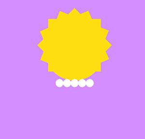 Small yellow triangular head with white beads.