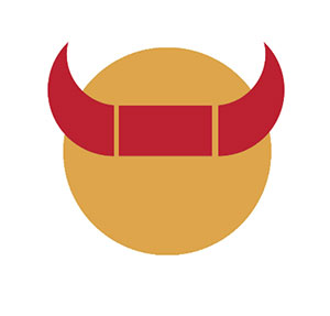 Orange circle with red horns.