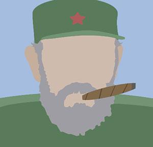 Man smoking a cigar in a green hat.