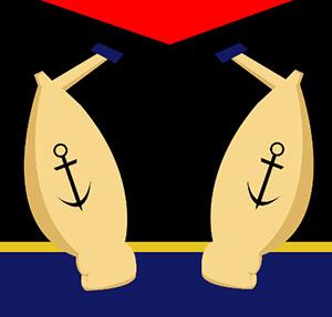 Large muscular sailor arms.