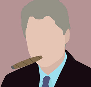 Man with grey hair in suit, smoking a cigar.