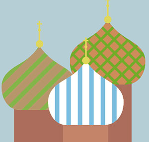 Patterned building domes.