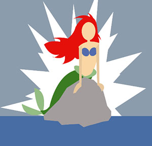 Mermaid with red hair sitting on a rock.