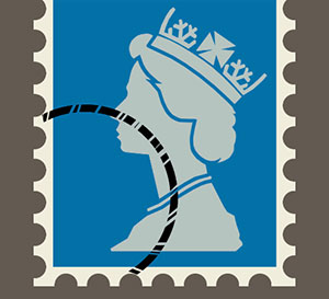 A blue and white stamp with a queen on the front of it.