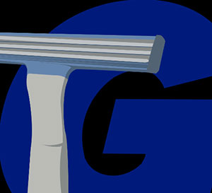 A razor in front of a blue G.