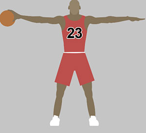 A man in a red basketball outfit, holding his arms out and he has a basketball in one hand