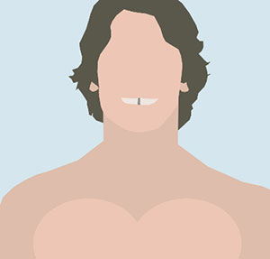 Man with bare chest, shaggy hair, and gap teeth.