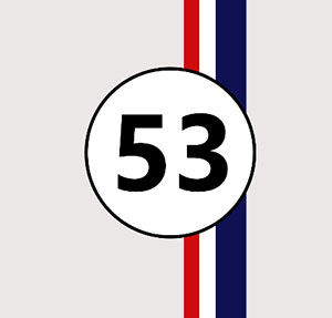 53 with red,white, and blue stripes.