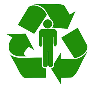 Green recycling sign with person.