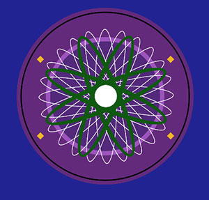 Purple circle with green and white spinning circles