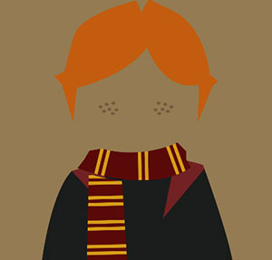 Boy with orange hair and maroon and yellow scarf.