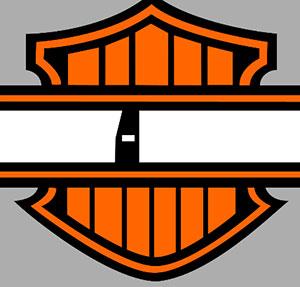 Orange logo with white ribbon.
