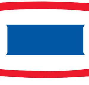 Blue rectangle inbetween red stripes.