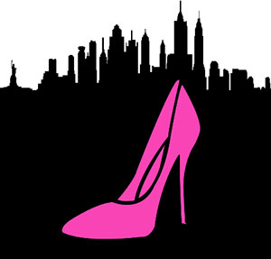 Pink pump and black city skyline, New York City.
