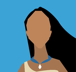 Tan girl with long dark hair and blue necklace.