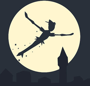 Boy flying over the moon and city landscape.