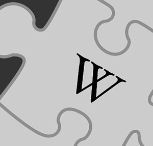 Puzzle piece with the letter W.
