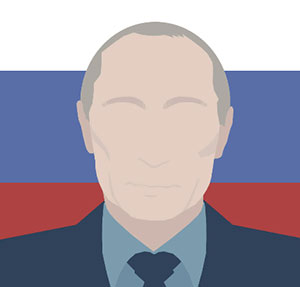 Man with hallow face in front of Russian flag.