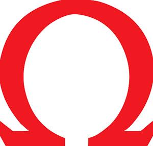 Red Omega sign.