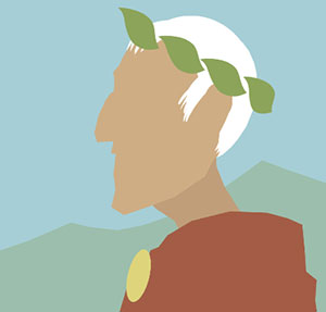 Man with white hair and ivy crown.