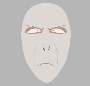 Scary grey face with slits for eyes and small mouth.