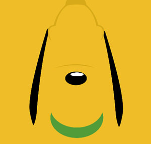 Yellow dog with floppy ears and green collar.