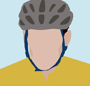Biker, man with cycling helmet on and yellow shirt.