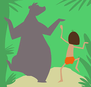 Dancing bear in the jungle with little boy.