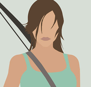 Girl with brown hair and bow and arrow.