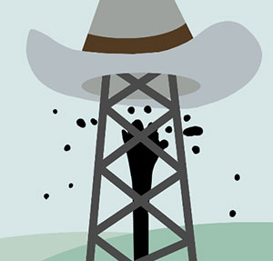 Cowboy hat on electric pole with black hand.