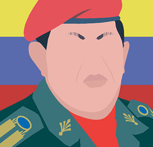 Angry man with red barret, miliatry unifrom, in front of blue red and yellow flag.