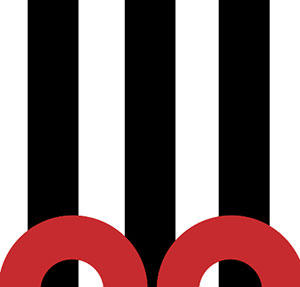 Black and white stripes with red circles.