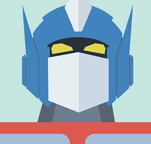 Blue and silver helmet with yellow eyes.