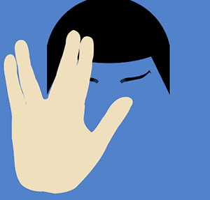 Blue man with black hair and fingers separated.
