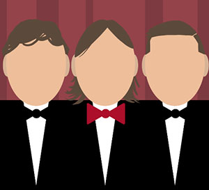 Three figures in tuxedos and one is wearing a red bowtie and the others are wearing black bowties