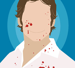 A man wearing a white shirt and they have blood on their face and shirt