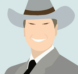 Man with cowboy hat and white smile.