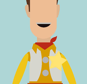 Toy Story, doll with yellow star on shirt.